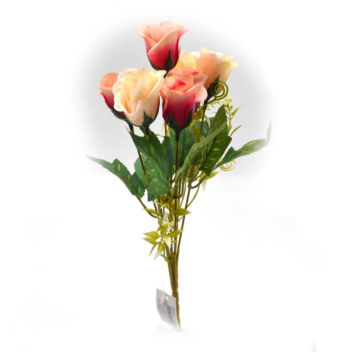 Flori Buchet 7 trandafiri wild crem cu roz intens