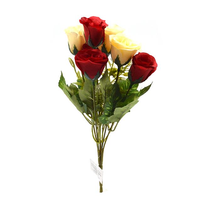 Flori Buchet 7 trandafiri wild rosu cu crem