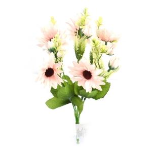 Flori Buchet artificial 5 fire cu boboci Margareta roz pal